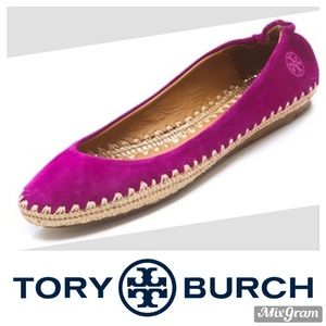 TORY BURCH Purple Suede Holiday Flat Espadrille 8